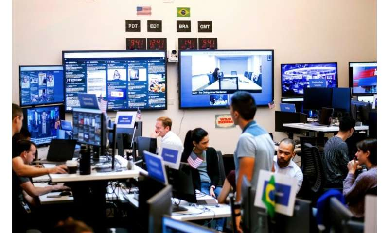 "Even as efforts ramp up to root out misinformation such as Facebook's ""War Room,"" seen here, researchers say low quali"