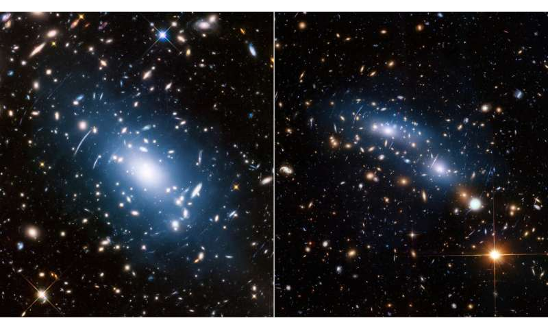 The glittering cluster of galaxies brightens the dark matter