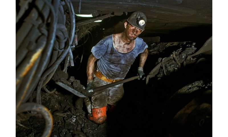 German miner Andreas Stieglan working in the Prosper-Haniel mine