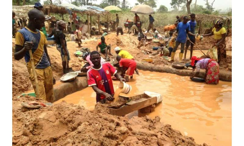 Gold miners at a site in the Cameroon town of Betare Oya sift through earth and water to find minerals