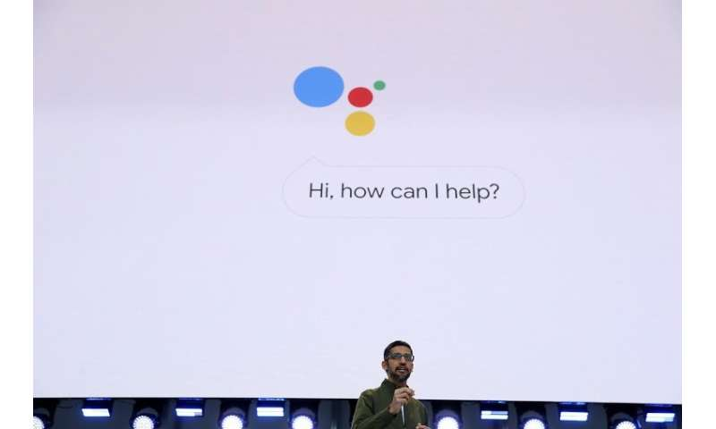 Google CEO Sundar Pichai delivers the keynote address at the Google I/O 2018 Conference at Shoreline Amphitheater on May 8, 2018