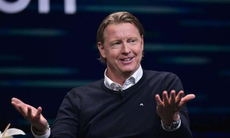Hans Vestberg, the incoming CEO of US telecom giant Verizon, is seen at a January 2018 appearance at the Consumer Eletronics Sho