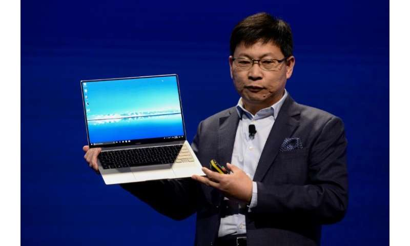 Huawei CEO  Richard Yu presents the MateBook X pro laptop