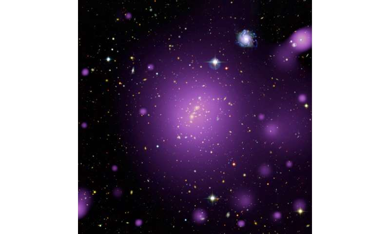 Hot X-ray glow from massive cluster of galaxies Imagehotxray