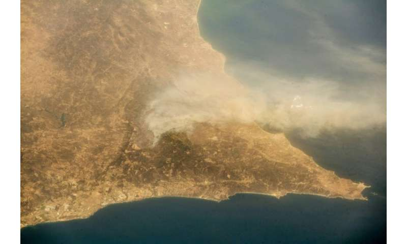 Images released by the European Space Agency appear to show that the fire—which began on Friday in the eucalyptus and pine fores