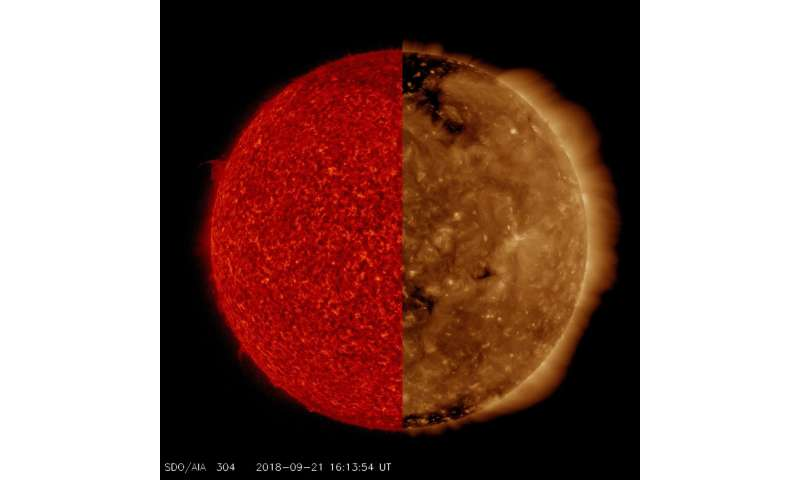 Image: The sun—two wavelengths, two different images
