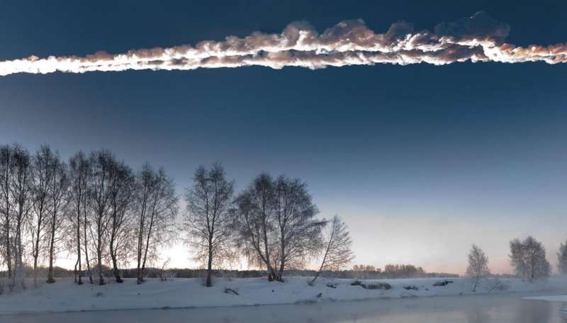 Image: Vapour trail of the 2013 Chelyabinsk asteroid