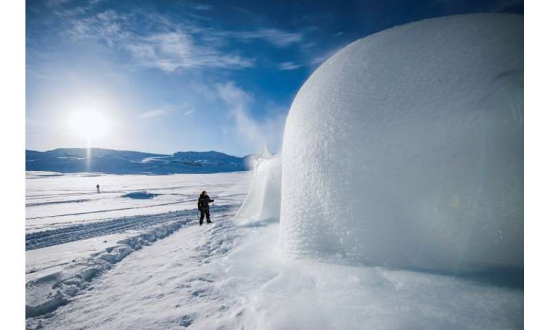 It took organisers a week to build the igloo in the Norwegian mountain village of Finse
