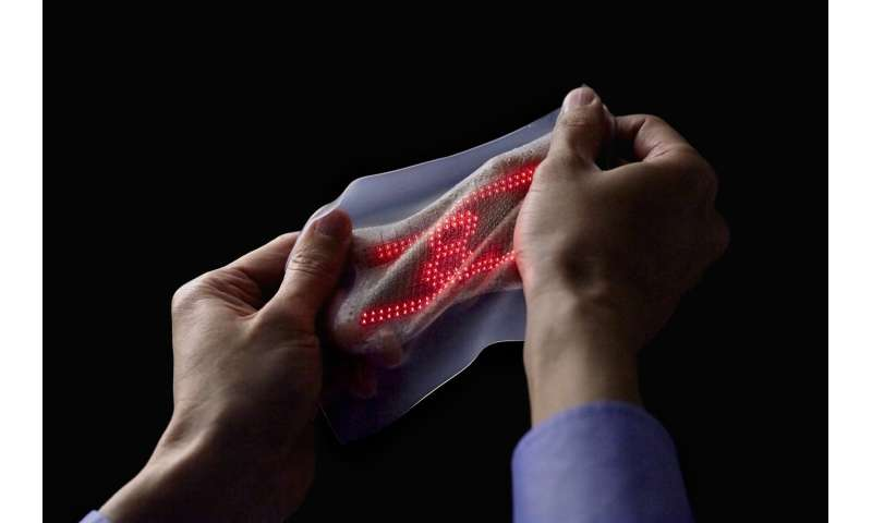 Japanese researchers develop ultrathin, highly elastic skin display