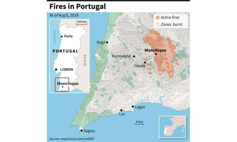 Map locating fires around Monchique in Portugal