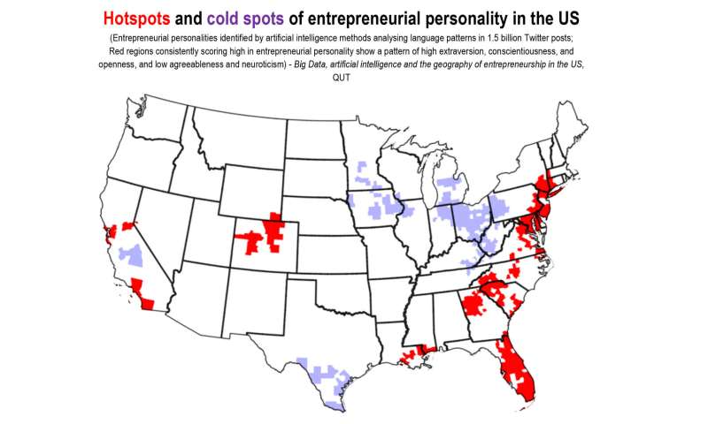 Massive AI Twitter probe draws heat map of entrepreneurial personality