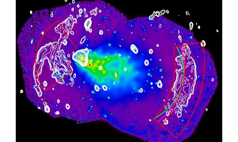 Merging galaxy cluster provides laboratory for accelerating electrons
