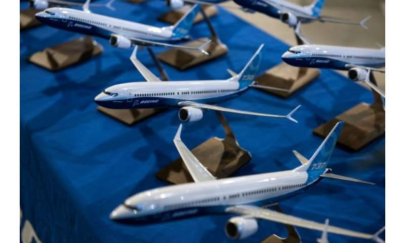Models of Boeing 737 aircraft are pictured in the Boeing Sheffield factory