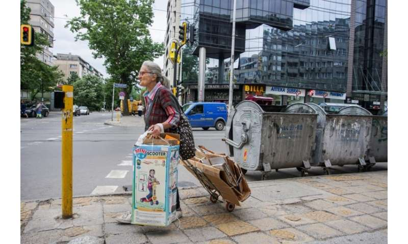 Most of the collectors are middle-aged or elderly, with two-thirds of them working seven days a week, carrying huge loads on foo