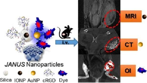 Nanoplatform developed with three molecular imaging modalities for tumor diagnosis