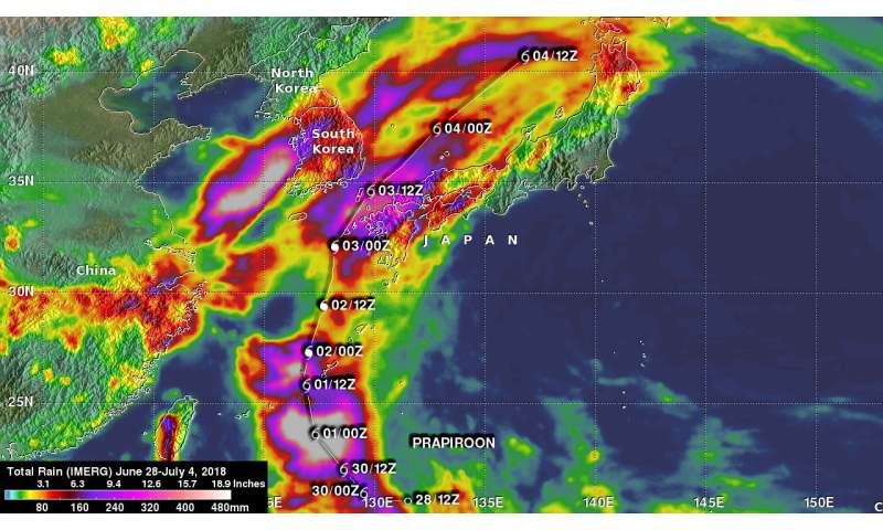 NASA added up Typhoon Prapiroon's rainfall