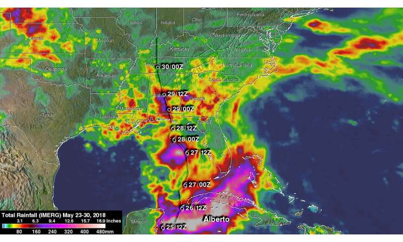 NASA adds up Alberto's soaking rainfall in the US Southeast and Tennessee Valley