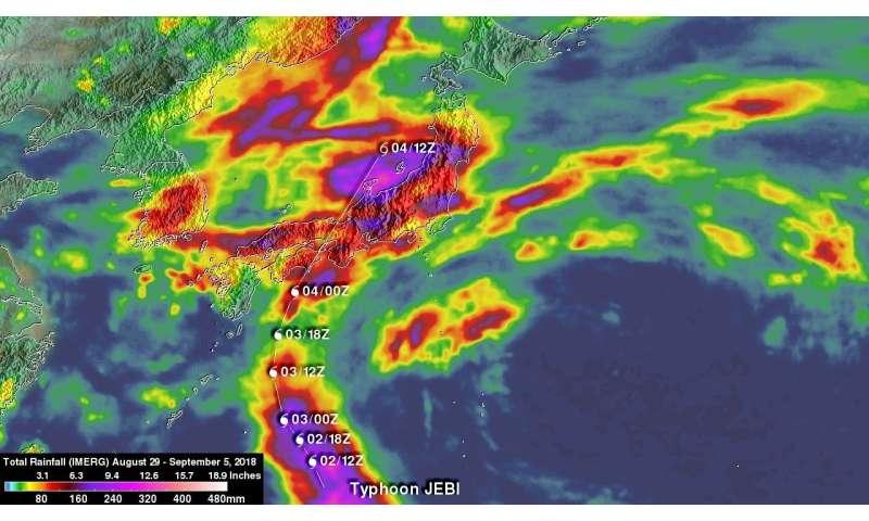 NASA adds up heavy rains from Typhoon Jebi