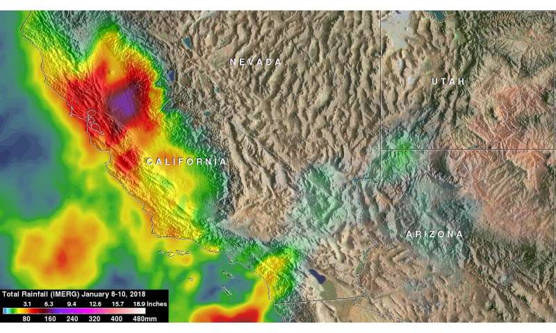 NASA calculated heavy rainfall leading to California mudslides