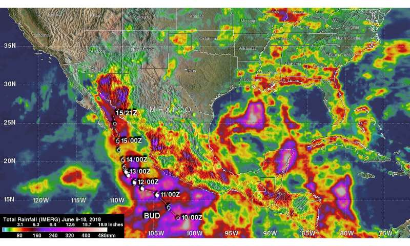 NASA examined Tropical Cyclone Bud's rains in the US southwest