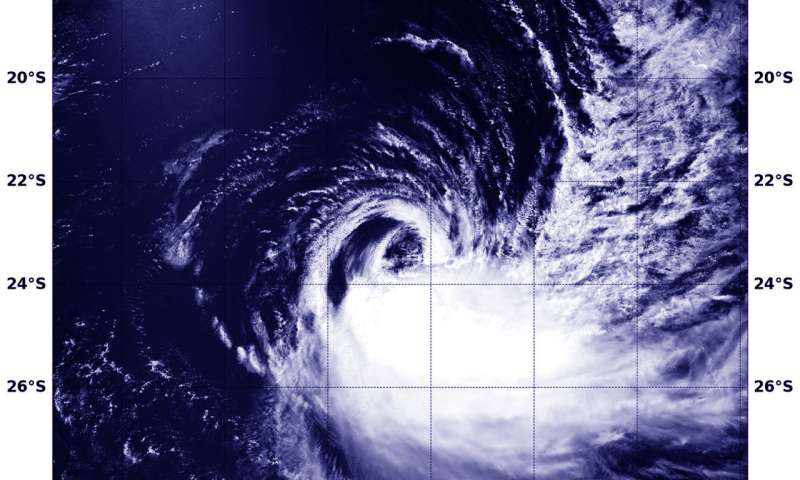 NASA finds wind shear tearing Tropical Cyclone Cebile apart