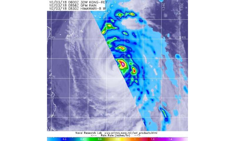 NASA gets a look at the rainfall rates within Typhoon Kong-Rey