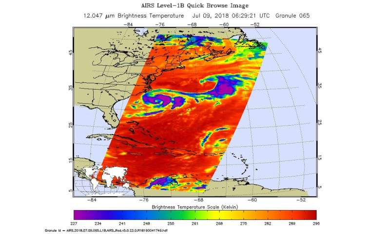 NASA gets infrared view of Carolina Chris, the tropical storm