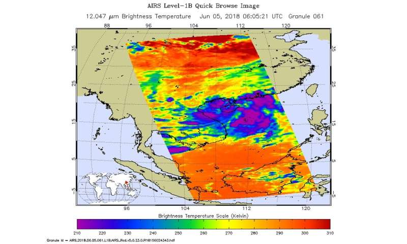 NASA sees strong storms in Tropical Depression 05W as it strengthened