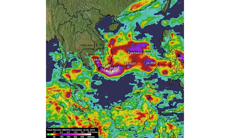 NASA's IMERG analyzed Tropical Storm Usagi's rainfall