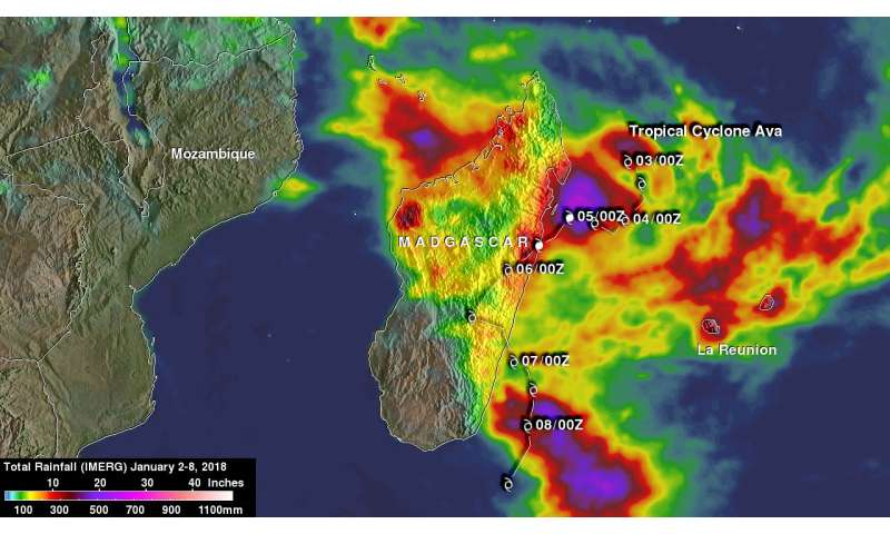 NASA's IMERG measures Tropical Cyclone Ava's disastrous rainfall