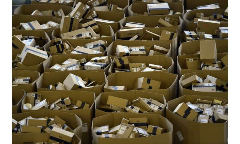 Packages stored at Amazon's Spanish logistics center in San Fernando de Henares, near Madrid, ahead of the Christmas shopping ru