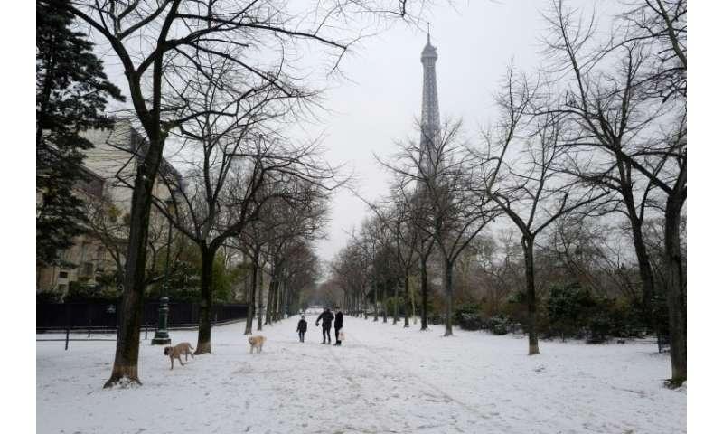 Paris awoke under a blanket of snow