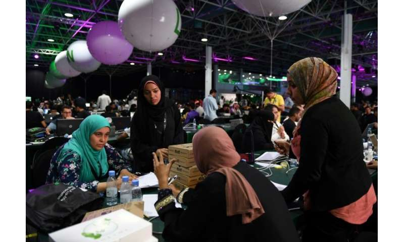 Participants compete in Saudi Arabia's first ever hackathon on August 1, 2018 ahead of this year's hajj pilgrimage