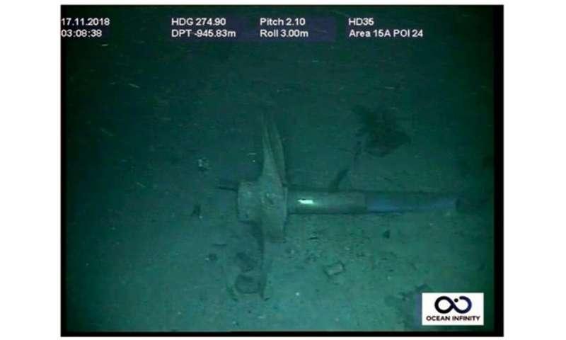 Part of the ARA San Juan wreck is seen underwater