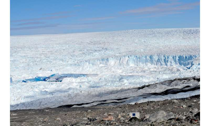 Physics of a glacial 'slushy' reveal granular forces on a massive scale
