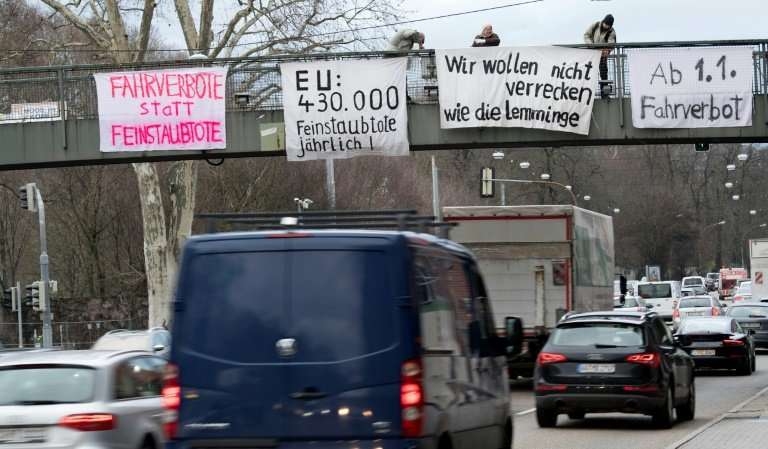 Protesters in Stuttgart set up banners against particle pollution