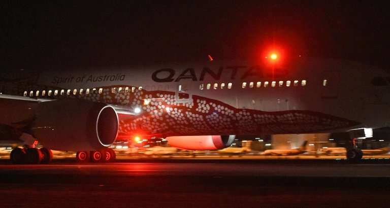 Qantas' 787 Dreamliner takes off on its inaugural flight from Perth to London, on March 24, 2018