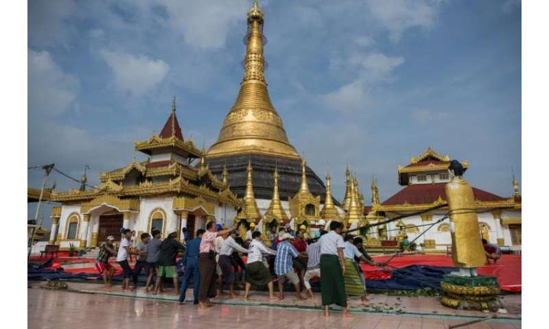 Rains triggered a landslide that damaged the hilltop Kyeik Than Lan​ pagoda in Mawlamyine
