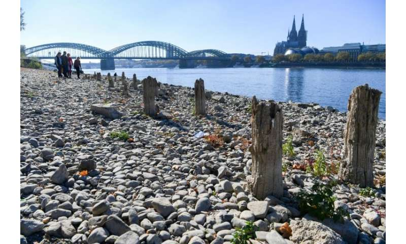 Record low water levels on the Rhine, seen here in the historic town of Colgone, have crippled transport along a key German wate