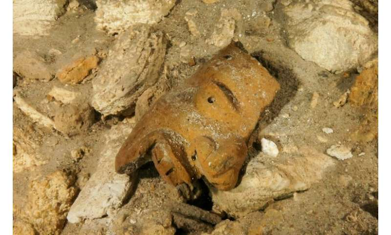 Remains of a mask in the Sac Actun underwater cave in Mexico's Quintana Roo state, from an image published by the National Insti