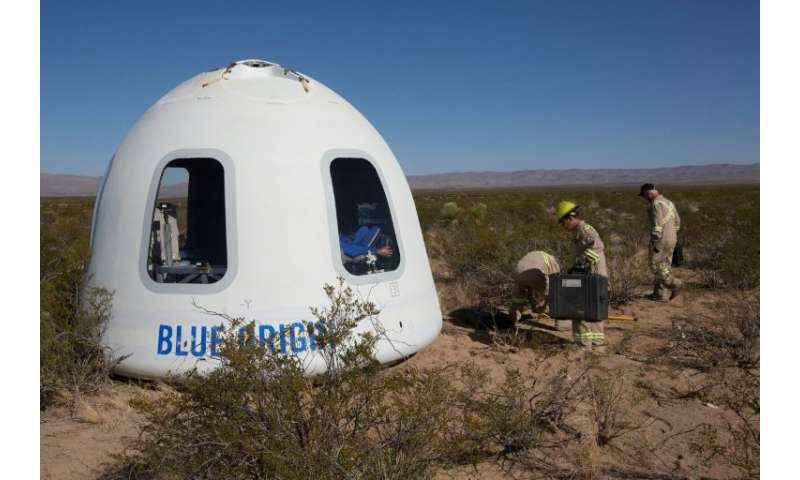 "Six passengers will take their place in a ""capsule"" fixed to the top of Blue Origin's 60-foot-long rocket"