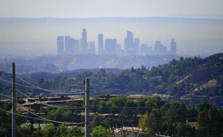 Smog hangs over Los Angeles, which a study found was the US city with the worst ozone pollution