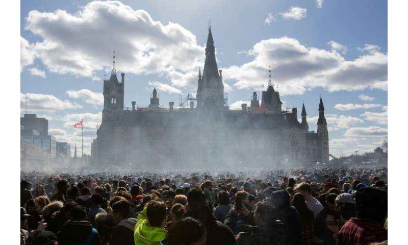 Smoke lingers over Parliament Hill in Ottawa as people smoke marijuana during Canada's annual 4/20 rally in April 2018, six mont
