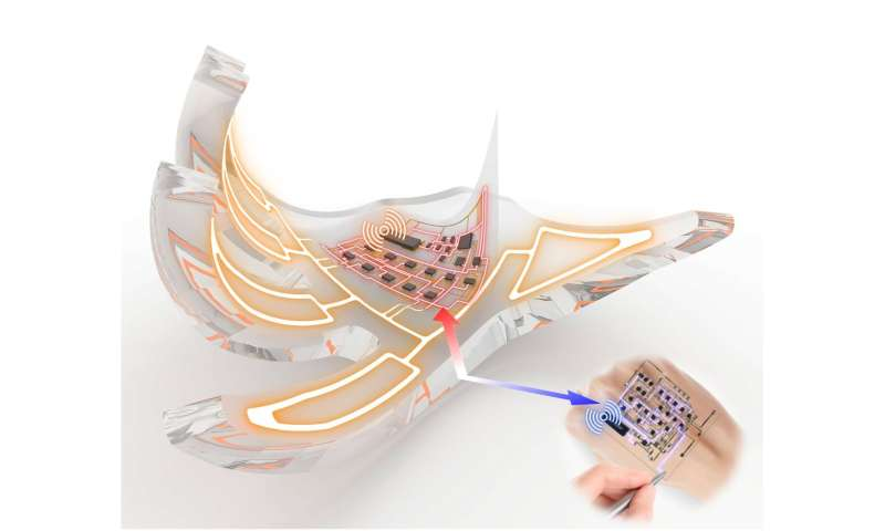 SNU Researchers developed electronic skins that wirelessly activate fully soft robots