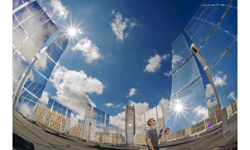 Solar tower exposes materials to intense heat to test thermal response
