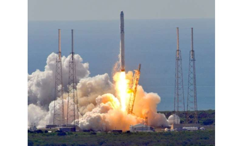 Space X's Falcon 9 rocket as it lifts off from Cape Canaveral, Florida June 28, 2015 with a Dragon CRS7 spacecraft