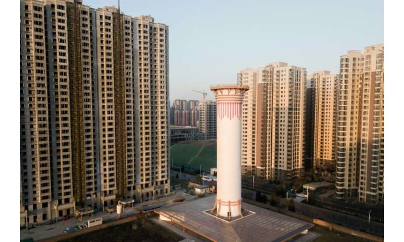 Standing between high-rises, the giant air purifier is capable of cleaning between 5 million and 18 million cubic meters of air