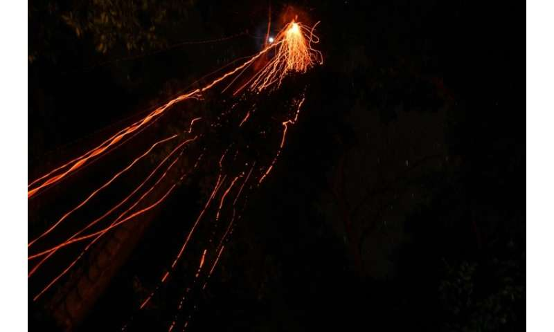 Streaks of burning embers fall as a traditional Malaysian honey-hunter raids bee nests on a moonless night