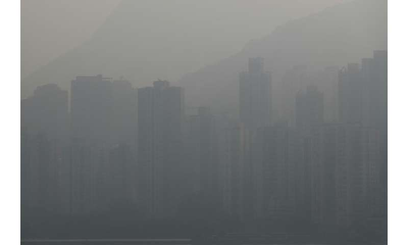 """The air quality in Hong Kong Monday was categorised as """"unhealthy"""" on the World Air Quality Index"""