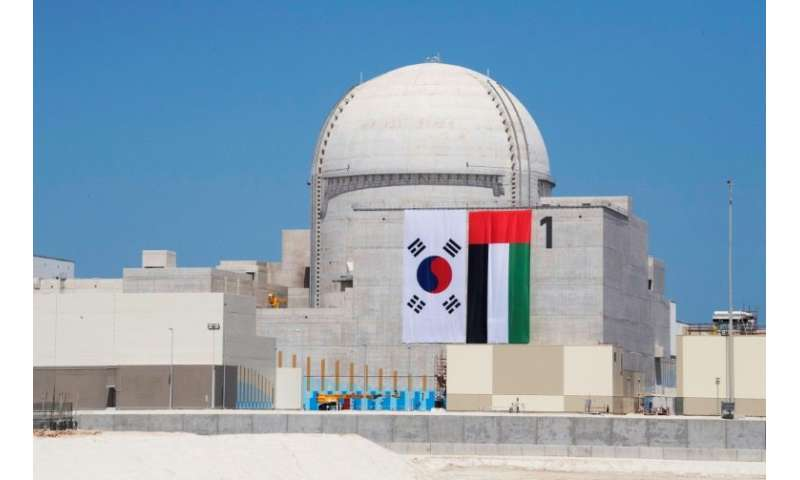 The first unit at the Barakah Nuclear Energy Plant in Al-Dafrah is seen in a handout picture released by the United Arab Emirate